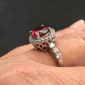 Jewelry - Sterling silver, ruby & cubic zirconia ring